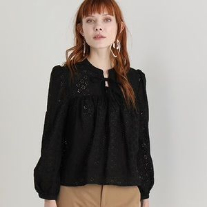 Madewell Eyelet Double-Tie Peasant Blouse in Black